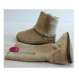 SO Fold Over Wool Sweater Boots Oatmeal Size 10